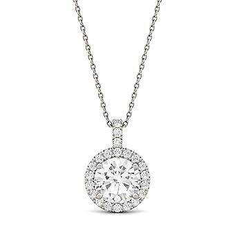 Moissanite de ouro branco 14K por Charles e Colvard 8 milímetros Redonda pingente de colar, 2.22cttw DEW