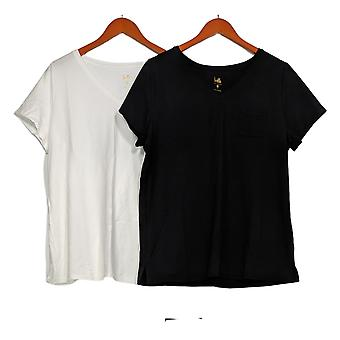 Belle by Kim Gravel Women's Top V-Neck Set Of Two White W/ Black A378623