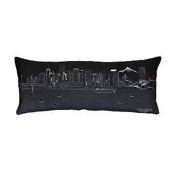 Spura Home Portland Printed Skyline Embroidered Wool Day/Night Cushion