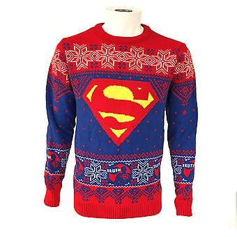 Superman Unisex Adult Truth Logo Christmas Jumper