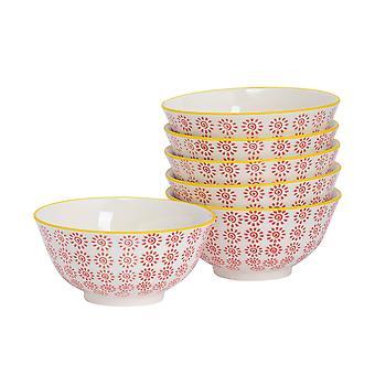 Nicola Spring 6 Piece Hand-Printed Cereal Bowl Set - Japanese Style Porcelain Breakfast Dessert Serving Bowls - Red - 16cm