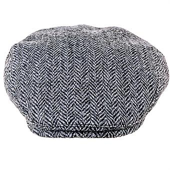 ZH014 (BLACK/GREY XL 62cm ) Highland Harris Tweed Flat Cap