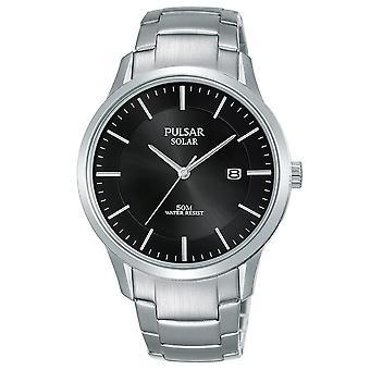 Pulsar Mens Solar Stainless Steel Bracelet Black Dial 50M Watch (PX3161X1)