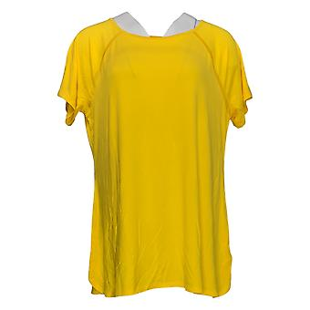 H بواسطة هالستون المرأة & apos;ق أعلى أساسيات الطاقم الرقبة راغلان الأكمام الصفراء A354103