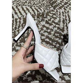 Square Toe Quilted Mule Heels White
