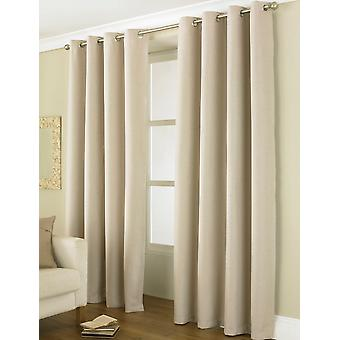 """Country Club Thermal Blackout Eyelet Curtains 66"""" X 72"""", Linea Natural"""