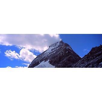 Low angle view of a mountain peak Mt Matterhorn Zermatt Valais Canton Switzerland Poster Print