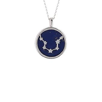 Zodiac Silver Blue Lapis Gemstone Aquarius Star Necklace Pendant