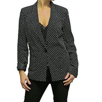 Women's Slim Fit Blazer Ladies Smart One Button Work Office Elegant Lightweight Polka Dot Tailored Suit Jacket Jacket Black 8-10