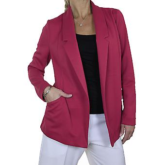 Women's Soft Textured Long Sleeve Open Front Blazer Jacket Washable Smart Office Workwear Pink 8-10