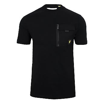 Lyle & scott men's jet nero petto tasca t-shirt
