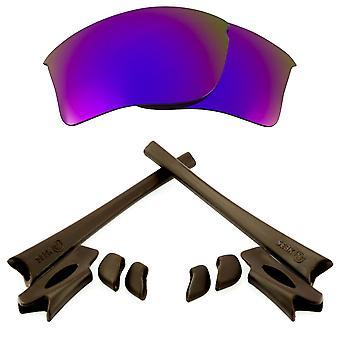 Replacement Lenses & Kit for Oakley Flak Jacket XLJ Purple Mirror & Brown Anti-Scratch Anti-Glare UV400 by SeekOptics