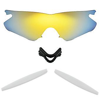 الاستقطاب استبدال العدسات عدة ل Oakley M إطار سخان الذهب مرآة بيضاء مضادة للخدش الأشعة فوق البنفسجية المضادة للوهج من قبل SeekOptics