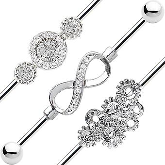 3 Industrial piercing barbells 14ga steampunk, infinity and cz styles