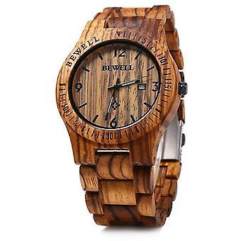 BEWELL ZS-W086B Männer natürliche Holz Auto Kalender Display Mode Quarz Handgelenk