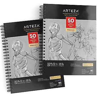 "Arteza 9""x12"" grau getönt säurefreie Skizzenblock, 2 Erk., 100 Blatt, 80lb/120gsm, spiralgebunden, 50 sie"