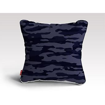Ciemnoniebieski kamuflaż plakat poduszka/poduszka