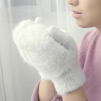 Cute Rabbit Wool Gloves Female Winter Mittens Factory Outlet Fur Gloves