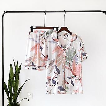 Spring Leaves Printed Women's Pajama Cotton Plus Size Two-piece Set Brief