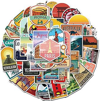 City Building Stickers Travel Outdoor Adventure Doodle Cartoon Mixed Decals