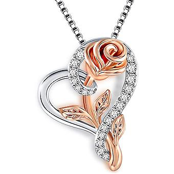 SNZM Heart Necklace Rose Flower Pendent Necklace for Women, Jewelry Gift