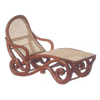 Dolls House Walnut Safari Lounge Chair Sun Lounger Platinum Garden Furniture