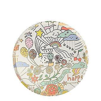 Meri Meri Happy Doodle Side Paper Party Plates x 8