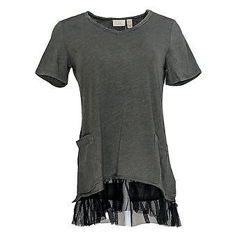 LOGO Par Lori Goldstein Women's Top Washed Jersey Edge Ruffle Gray A346165