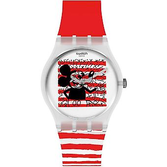 Swatch Gz352 Mouse Mariniere Red & White Stripe Silicone Watch