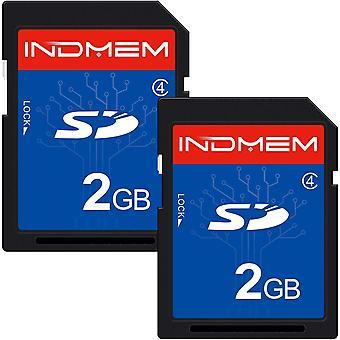 Indmem sd card 2gb class 4 slc secure digital flash memory card camera card 2pack 2gbx2 blue