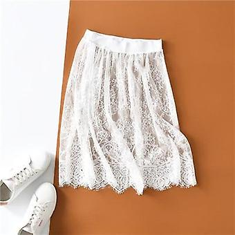 New Fashion Autumn Winter Slips Women Casual Lace Perspective Mini Skirts