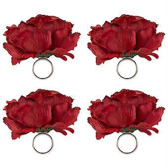 Dii Peony Napkin Ring (Set Of 4) Deep Red