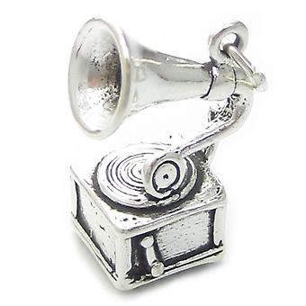 Gramophone Sterling Silver Charm .925 X 1 Early Record Player Charms - 2670
