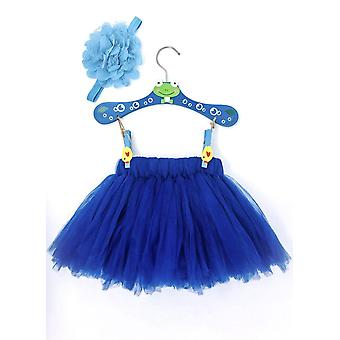 Navy Blue Baby Dress Set With Flower Headband