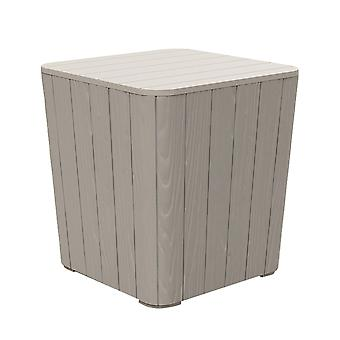 Outsunny 50L Outdoor Patio Wood Effect Square Coffee Table Storage Bar Table Garden Furniture Bucket - Grey