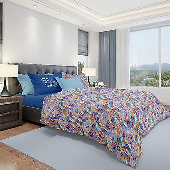 Komplettes mehrfarbiges Baumwoll-Canvas-Bett, L240xP280 cm, L170xP195 cm, L52xP82 cm
