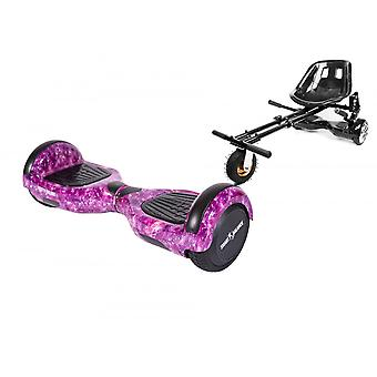 Package Hoverboard 6.5 Inch, Smart Balance Regular Galaxy Pink + Hoverseat With Suspension, Motor 700 Wat, Bluetooth, Led