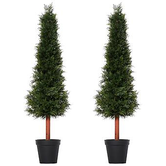 Outsunny Set Of 2 150cm/5FT Artificial Cedar Pine Trees Decorative Cypress Plant Fake Conifer Tree w/ Heavy Pot Indoor Outdoor Home Office