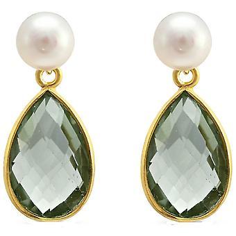 Pearls of the Orient Clara Freshwater Pearl Amethyst Drop Earrings - Green
