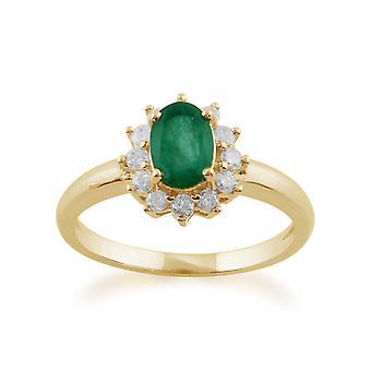 Gemondo 9ct желтого золота 0,83 ct изумруд & алмаз овальный кластера кольцо