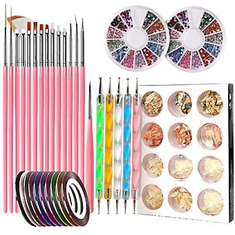 Nail tool point drill pen set with gold foil tin foil rhinestones 15 brushes nail tools