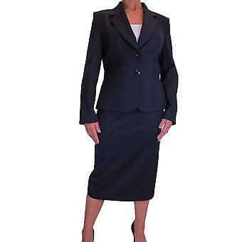 Women's 2 Piece Formal Business Suit Office Work Blazer Jacket Skirt Suit Fully Lined Grey 14-22