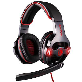 Gaming headset med micro - USB-  Headset PS4, PC, Nintendo Switch, Mac + 7.1 Surround Gaming Headset med passiv støjreduktion