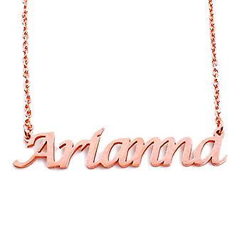 KL Arianna - Kaulakoru custom nimi, päällystetty 18 karaatti ruusu kultaa, säädettävä ketju 16 - 19 cm