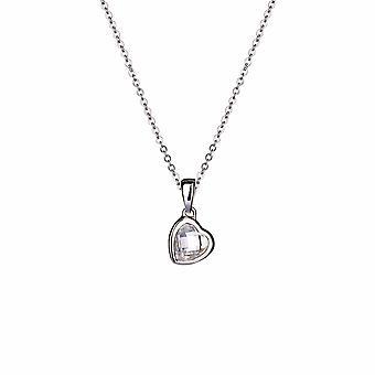 Avec Amour - Pendentif Icônes coeur à facettes - Prolongateur 40cm +3cm - Argent - Cadeaux bijoux pour femmes de Lu Bella