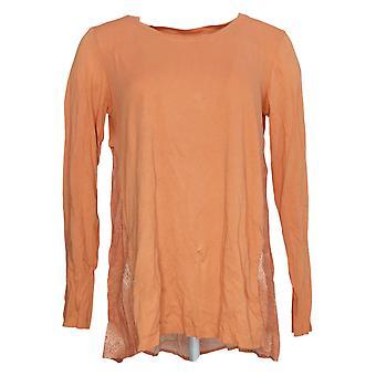 LOGO by Lori Goldstein Women's Top w/ Back Embroidery Orange A307260
