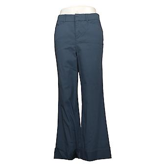 Martha Stewart Women's Pants Regular Chino Wide-Leg Cuffed Blue A354315