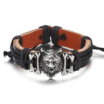 Nouveaux bracelets en cuir véritable Punk Wolf Head