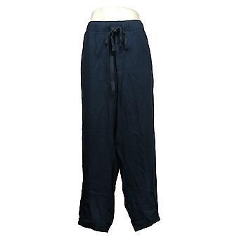 LOGO by Lori Goldstein Women's Plus Woven Pull-On Pants /Trim Blue A351761