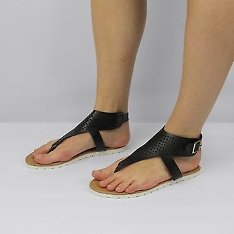 Shumo Tribal Ladies Open Toe Buckle Sandals Black